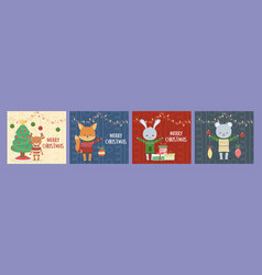 merry christmas celebration cute animals with vector image
