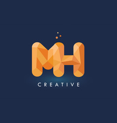 mh letter with origami triangles logo creative vector image