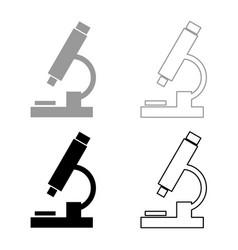microscope icon set grey black color vector image