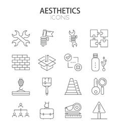 modern thin line flat design of icons set vector image vector image