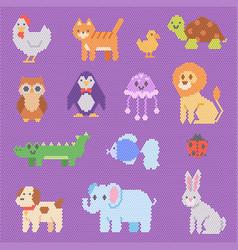 Mosaic animal animalistic beads abstract vector
