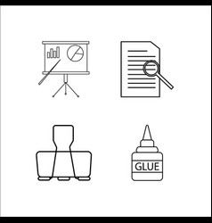 office simple linear icon setsimple outline icons vector image