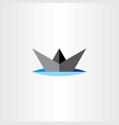 paper boat ship icon design vector image