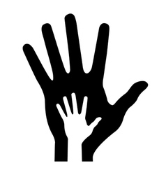 Parent hand with bahand vector