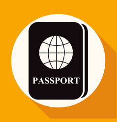 passport icon on white circle with a long shadow vector image