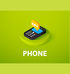 Phone isometric icon isolated on color background vector