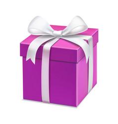 Pink cartoon gift box white bow vector
