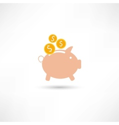pink pig with money vector image vector image