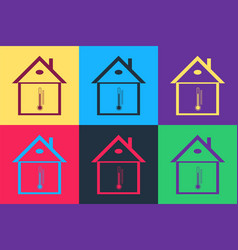 Pop art house temperature icon isolated on color vector