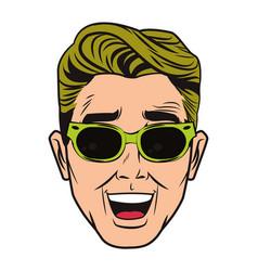 Pop art man face vector