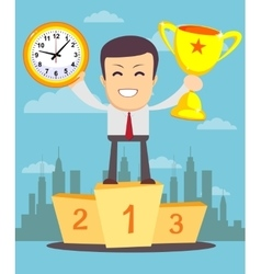 Portrait of a businessman holding watch and trophy vector image