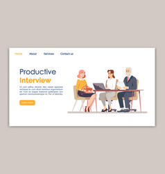 Productive interview landing page template vector