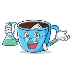 Professor tea cup character cartoon vector
