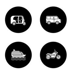 Public transport glyph icons set vector