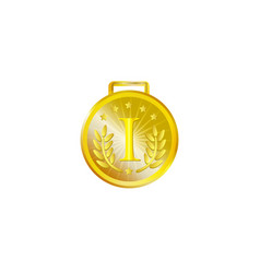 realistic golden medal isolated vector image