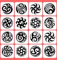 round tattoos set vector image