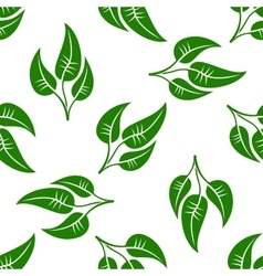 seamless pattern green leaves on white vector image