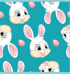 seamless pattern with heads white bunnies vector image