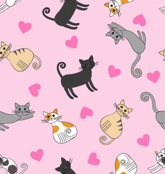 Seamless pattern with love cats vector image
