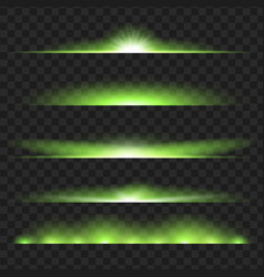 Set of green glowing light effect isolated on vector