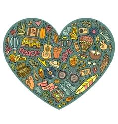 Set of Hippie cartoon doodle objects vector