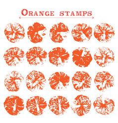 Set of orange fruit stamps orange marks on paper vector