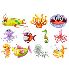 set sea creature vector image
