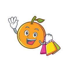 shopping orange fruit cartoon character vector image