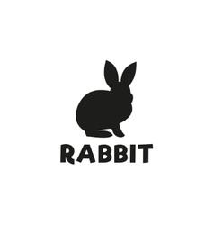 silhouette a rabbit sitting under logo pet vector image