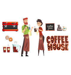 smiling bearded man with cezve and woman barista vector image