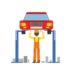 Smiling Mechanic Working Under Lifted Vehicle In vector image