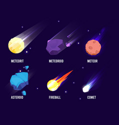 space objects glowing universe astronomy set vector image