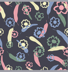 summer seamless pattern flowers leaves vector image