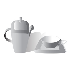 Tea set gray vector image