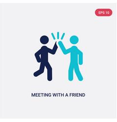 two color meeting with a friend icon from vector image
