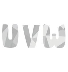 U v w grey alphabet letter set isolated on white vector