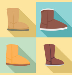 ugg boots icons set flat style vector image