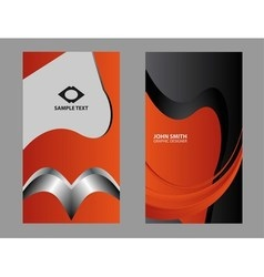 vertical orange business card vector image