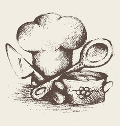 vintage cooking utensils vector image