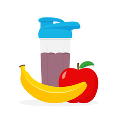 whey protein shaker banana and apple fruits vector image