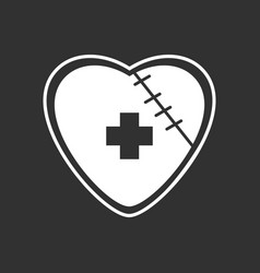 White icon on black background sewn heart vector