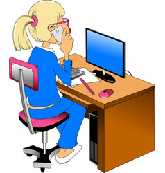 woman and computer vector image