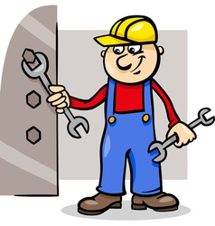 Worker with wrench cartoon vector
