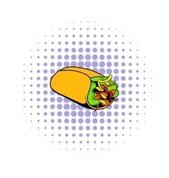 Wrap sandwich icon comics style vector