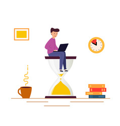 young man sitting on an hourglass and works vector image
