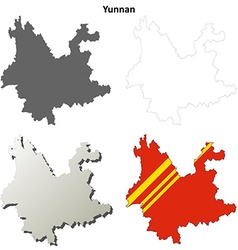 Yunnan blank outline map set vector image