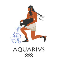zodiac in the style of ancient greece aquarius vector image