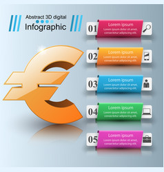 3d infographiceuro money icon vector image vector image