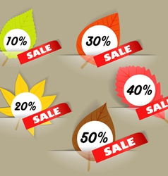 Autumn sale stickers in a pockers collection vector image vector image