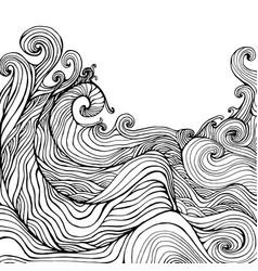 black white decorative doodles wave vector image